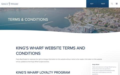 Screenshot of About Page Terms Page kingswharf.ca - King's Wharf says… - captured Oct. 13, 2017