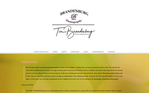 Screenshot of Testimonials Page brandenburgphotography.com - Testimonials - Brandenburg Photography - captured Aug. 3, 2018