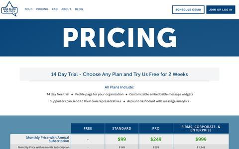 Screenshot of Pricing Page oneclickpolitics.com - One Click Politics - Advocate, Build your Base, or Raise Money. - captured Oct. 30, 2014