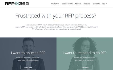 Screenshot of Home Page rfp365.com - RFP365 | Reinventing the RFP Process - captured July 18, 2018