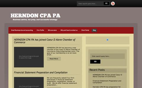 Screenshot of Blog herndoncpa.com - Blog » HERNDON CPA PA - captured Oct. 3, 2014