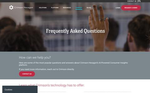 Screenshot of FAQ Page crimsonhexagon.com - Frequently Asked Questions – Crimson Hexagon - captured June 19, 2018