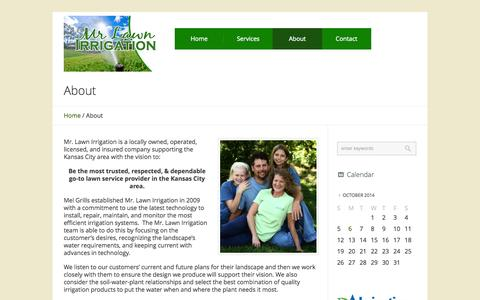 Screenshot of About Page mrlawnirrigation.com - About - Mr. Lawn Irrigation - captured Oct. 7, 2014