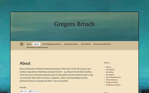 Screenshot of About Page wordpress.com - About « Gregers Brinch - captured Oct. 25, 2018