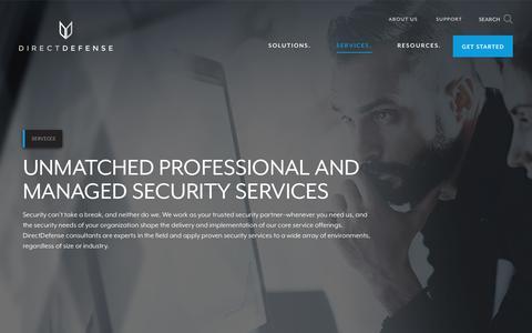 Screenshot of Services Page directdefense.com - Professional IT & Cyber Security Service Provider | DirectDefense - captured Aug. 7, 2018