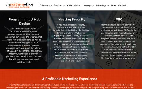 Screenshot of Home Page thenorthernoffice.com - Outsource Digital Marketing Social Media Marketing Philippines - captured Sept. 21, 2018
