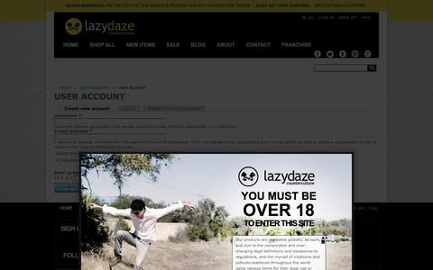Screenshot of Signup Page lazydazeco.com - User account | lazydazeco.com - captured Nov. 1, 2016