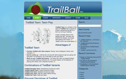 Screenshot of Team Page trailball.net - TrailBall Team: Advancing the ball as a team on a trail - captured July 7, 2016