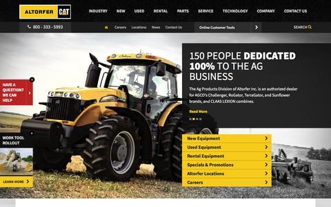 Screenshot of Home Page altorfer.com - Buy Construction Equipment For Sale | Altorfer Cat Dealer IL, IA, MO - captured Feb. 5, 2016