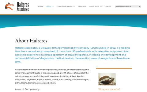 Screenshot of About Page halteresassociates.com - Medical Device Consultants | Halteres Associates | Halteres Associates - captured Dec. 14, 2018