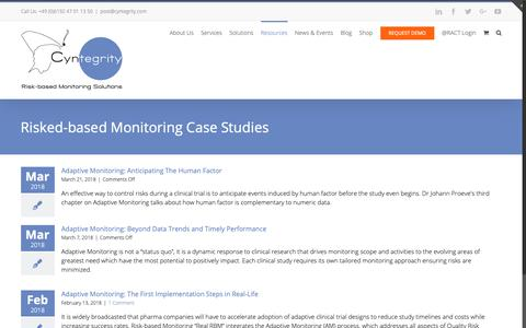 Screenshot of Case Studies Page cyntegrity.com - Case Studies on Risk-based Monitoring   Cyntegrity - captured Sept. 29, 2018