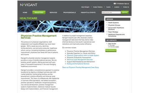 Screenshot of navigant.com - Physician Practice Management Consulting Services  | Navigant - captured Jan. 25, 2016