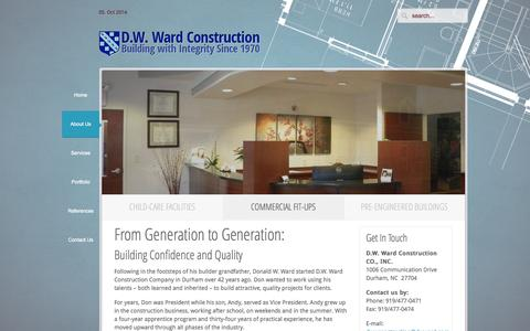 Screenshot of About Page dwward.com - D.W. Ward Construction  » From Generation to Generation: - captured Oct. 5, 2014