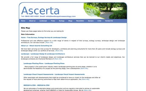Screenshot of Site Map Page landscapetreesecology.com - Site Map - Ascerta - Arboricultural, Ecological & Landscape Planning Consultancy - captured Oct. 4, 2014