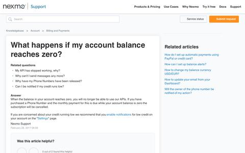 What happens if my account balance reaches zero?  – Knowledgebase