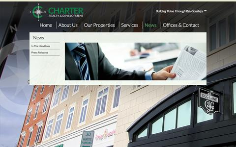 Screenshot of Press Page chartweb.com - News - Charter Realty & Development - captured Oct. 2, 2014