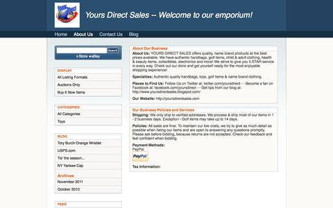 Screenshot of About Page yoursdirectsales.com - ''- yoursdirect's Emporium  - Clothing, Shoes & Accessories'' - captured Oct. 27, 2014