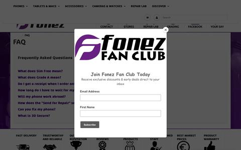 Screenshot of FAQ Page fonez.ie - FAQ - Frequently Asked Questions | Fonez - Galway, Cork & Donegal - captured Oct. 15, 2018