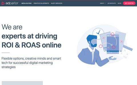 Screenshot of Home Page adparlor.com - AdParlor | Experts in Driving People-Based Marketing for Social & Display - captured Jan. 11, 2019