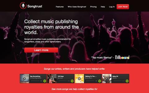 Screenshot of Home Page songtrust.com - Songtrust - captured Sept. 19, 2014