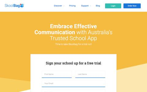 Screenshot of Trial Page moqproducts.com.au - Request Your Free Trial - Skoolbag - captured July 9, 2018