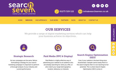 Screenshot of Services Page searchseven.co.uk - Search Seven - SEO & PPC Search Marketing Services - captured Jan. 12, 2016
