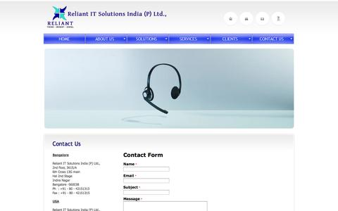 Screenshot of Contact Page Jobs Page Locations Page reliantit.in - Reliant IT Solutions India (p) Ltd Bangalore   Contact US - captured Oct. 25, 2014