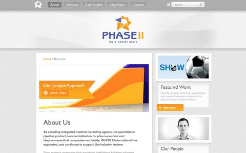 Screenshot of About Page phase-ii.com - About - PHASE II - The full service medical marketing specialists - captured Sept. 29, 2014