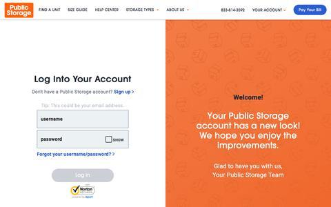 Screenshot of Login Page publicstorage.com - Account Log In | Public Storage - captured Sept. 23, 2019