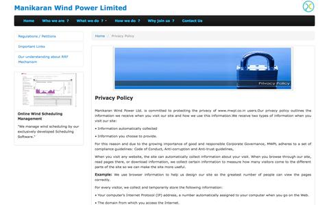 Screenshot of Privacy Page mwpl.co.in - Manikaran Wind Power Limited offers full-scale services in the wind sector, Wind power forecasting in India, Renewable energy forecasting, Pooling station level forecasting, Scheduling of renewable power, Power generation schedule submission to SLDC, - captured Oct. 4, 2014