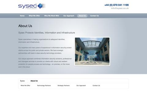 Screenshot of About Page sysec.co.uk - Sysec - captured Oct. 7, 2014