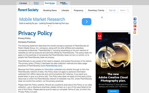 Screenshot of Privacy Page parentsociety.com - Privacy Policy | Parent Society - captured Oct. 29, 2014