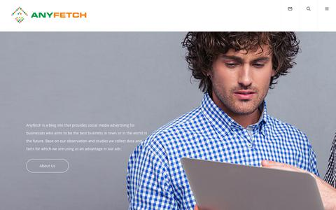 Screenshot of Home Page anyfetch.com - Connecting Business Website to Social Media - Anyfetch - captured Nov. 5, 2017