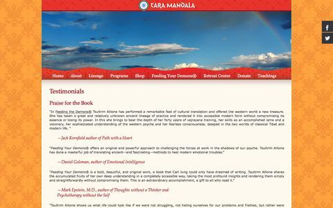 Screenshot of Testimonials Page taramandala.org - Testimonials - - captured Feb. 22, 2018