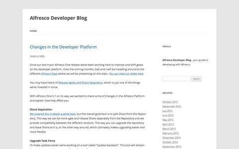Screenshot of Developers Page alfresco.com - Alfresco Developer Blog | - captured Nov. 5, 2015