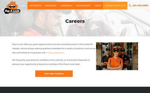 Screenshot of Jobs Page popalock.com - Careers | Pop-A-Lock® - captured Nov. 1, 2019