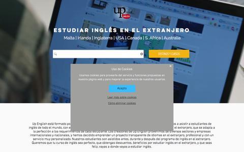 Screenshot of Home Page upenglish.es - Up English | Cursos de inglés en el extranjero - captured Feb. 26, 2016