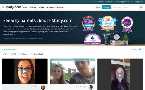 Screenshot of Testimonials Page study.com - Parents & Homeschool Reviews | Study.com - captured Dec. 7, 2019
