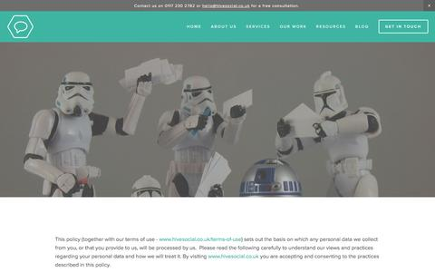 Screenshot of Privacy Page hivesocial.co.uk - Privacy Policy - Hive Social | Web Design & Squarespace Specialists / Designers | Bristol, UK - captured Dec. 10, 2015