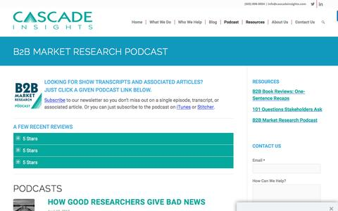 B2B Market Research Podcast - Cascade Insights