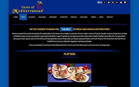 Screenshot of Menu Page tasteofmediterranean.ca - Taste of Mediterranean   Restaurant Menu - captured Oct. 26, 2014