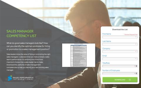 Screenshot of Landing Page spisales.com - Sales Management Competencies - captured Oct. 18, 2016