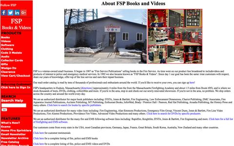 Screenshot of About Page fire-police-ems.com - About FSP Books and Videos - captured Nov. 24, 2016