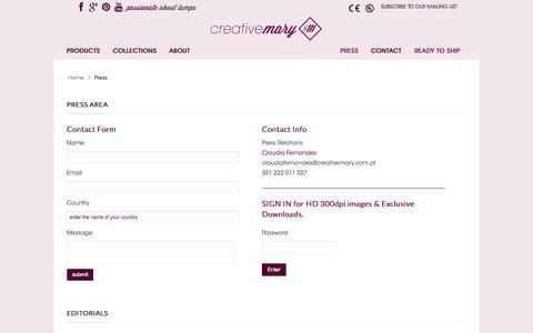 Screenshot of Press Page creativemary.com.pt - Creativemary Press Area - captured Sept. 23, 2014
