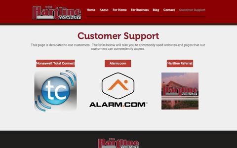 Screenshot of Support Page hartlinealarm.com - HartlineAlarm.com | Home of the Hartline Alarm Company | Customer Support - captured July 19, 2017