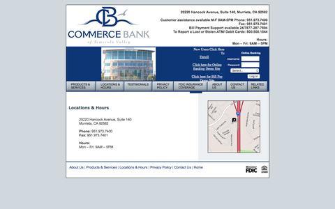 Screenshot of Locations Page commercebanktv.com - Commerce Bank of Temecula Valley in Murrieta - captured Nov. 10, 2016