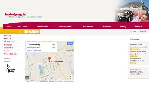 Screenshot of Maps & Directions Page eddiezarahnagency.com - Agency WebSite is Suspended - captured Sept. 30, 2014