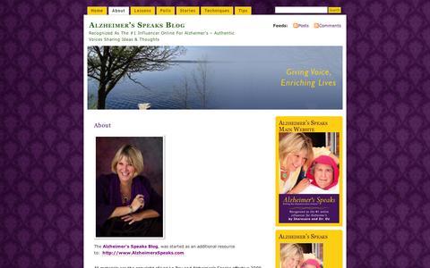 Screenshot of About Page wordpress.com - About    Alzheimer's Speaks Blog - captured Sept. 12, 2014