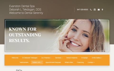 Screenshot of FAQ Page evanstondentalspa.com - FAQs   Evanston, IL   Evanston Dental Spa - captured Nov. 5, 2018