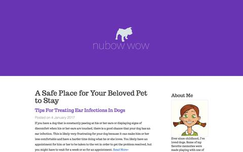 Screenshot of Home Page nubowwow.com - A Safe Place for Your Beloved Pet to Stay - captured Nov. 1, 2017